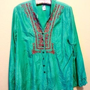 BELIZA Turquoise EMbroidered Blouse/Tunic